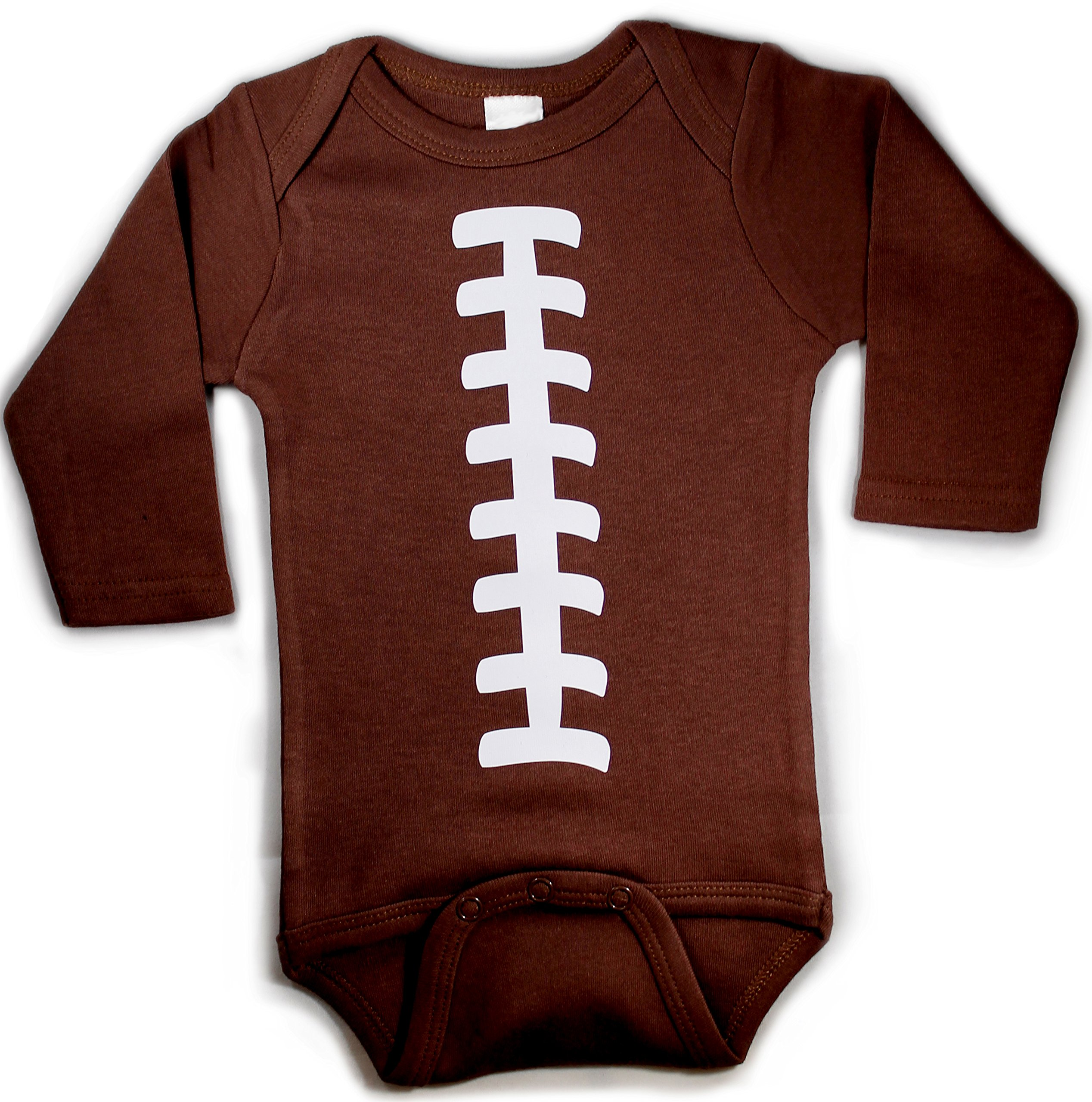 Baby Football Long Sleeve With Custom Personalized Back Baby Bodysuit Brown Unisex (3-6 Months (Small)) by Chamuco Customs (Image #2)