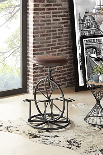 Armen Living Harlem Adjustable Barstool in Wrangler Fabric and Industrial Grey Metal Finish