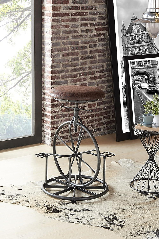 Armen Living Harlem Adjustable Barstool in Wrangler Fabric and Industrial Grey Metal Finish