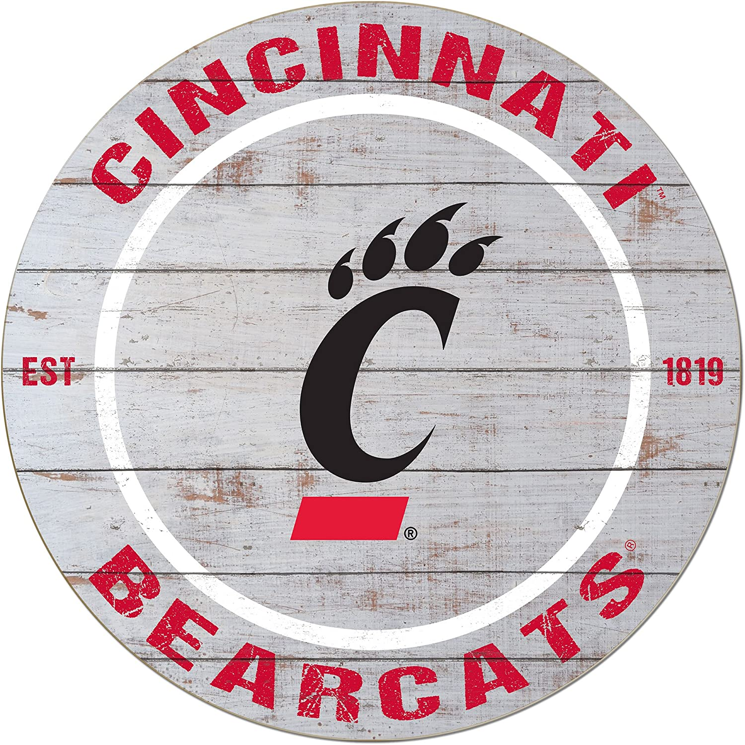 "KH Sports Fan 20""x20"" Weathered Cincinnati Bearcats Classic Circle Wall Sign"