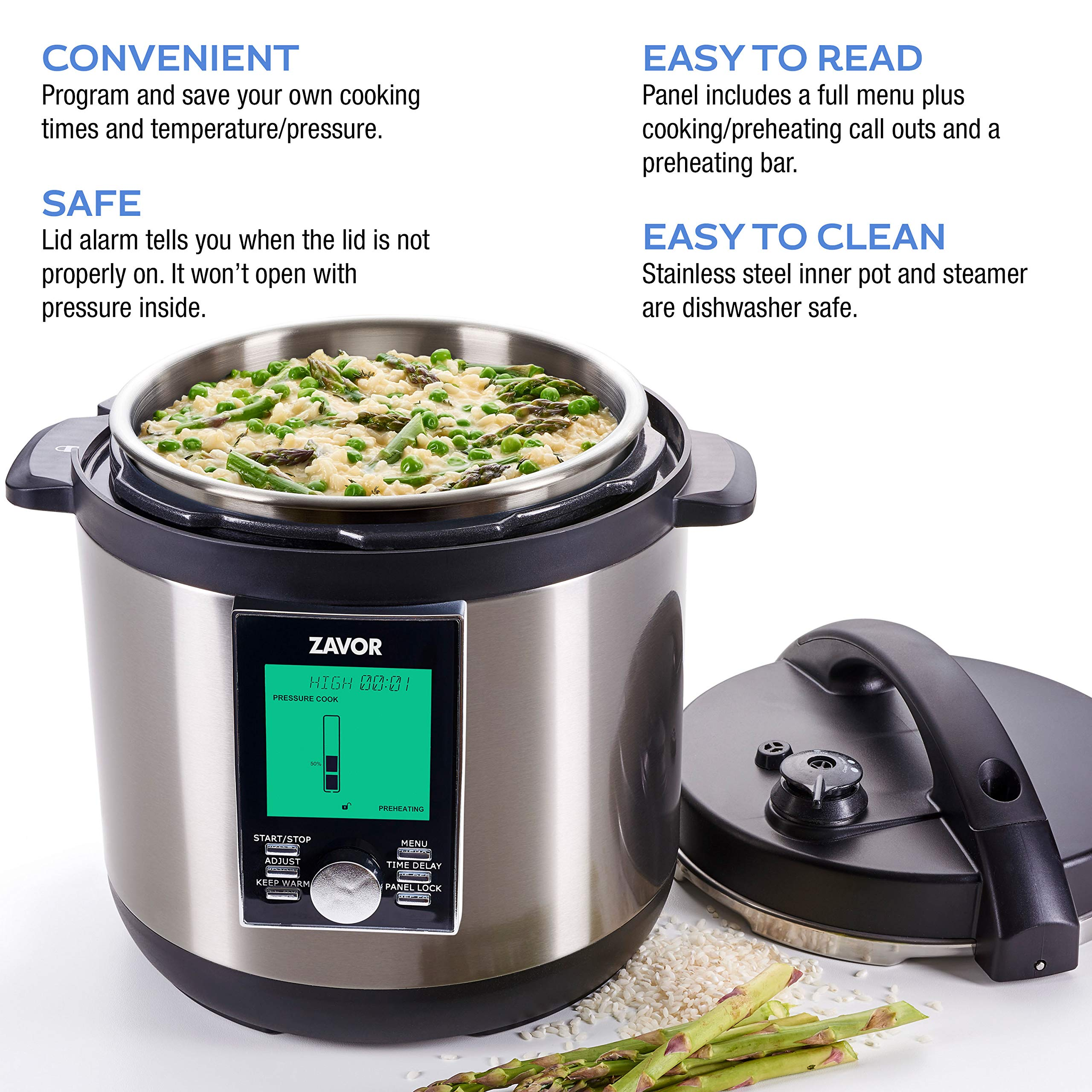 Zavor LUX LCD 8 Quart Programmable Electric Multi-Cooker: Pressure Cooker, Slow Cooker, Rice Cooker, Yogurt Maker, Steamer and more - Stainless Steel (ZSELL03) by ZAVOR (Image #4)