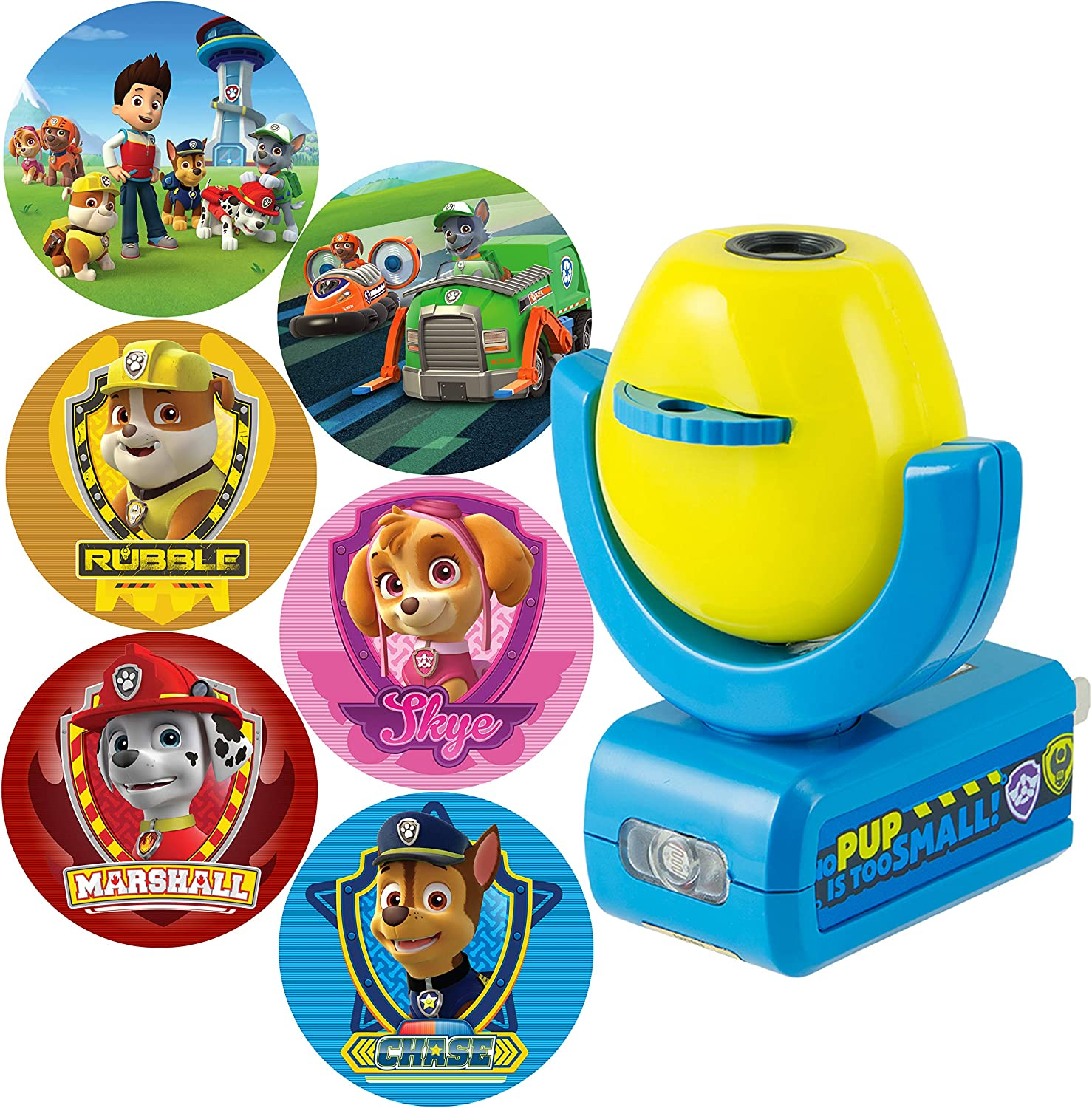 Projectables 30605 Paw Patrol 6-Image LED Plug-In Night Light, Yellow and Blue, Light Sensing, Auto On/Off, Projects Six Different Nickelodeon Paw Patrol Images Onto Wall or Ceiling