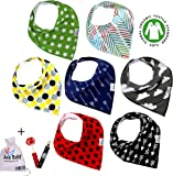 Premium Baby Bandana Drool Bibs 3 Snaps unisex 7-Pack Gift Set for Drooling and Teething 100% Organic Cotton,Hypoallergenic -for Boys and Girls, Free Pacifier Clip+E book+Gift bag by Ana Baby