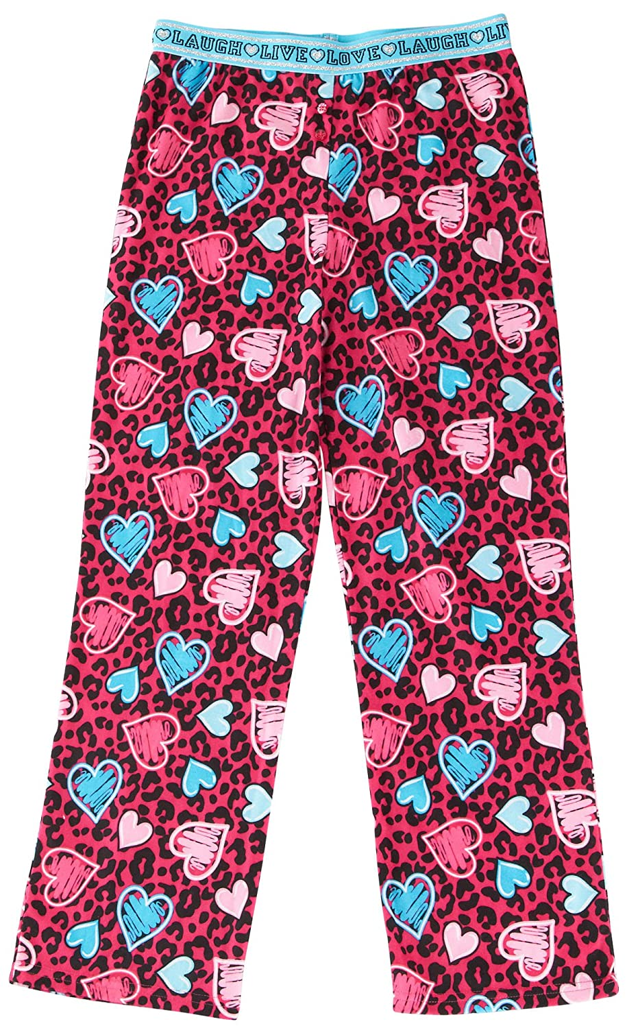 Jelli Fish Kids Pink Leopard /& Hearts Pajama Pants