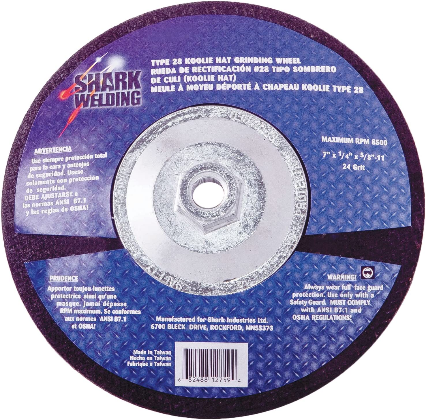 Shark 12761    9-Inch by 0.25-Inch by 5//8-11 Hubbed Koolie Hat Grinding Wheel with Type 28
