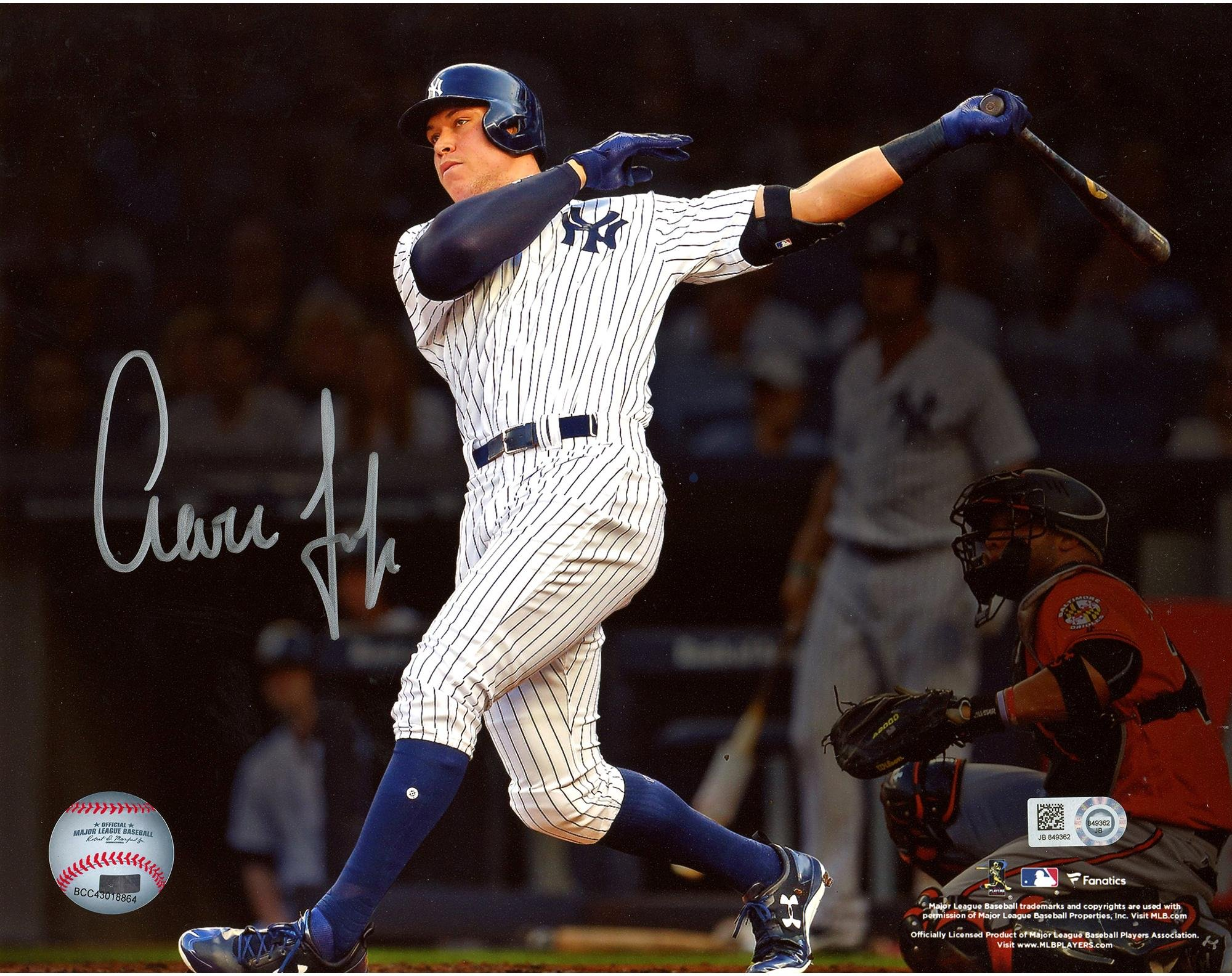 "Aaron Judge New York Yankees Autographed 8"" x 10"" Home Run Follow Through Photograph Fanatics Authentic Certified"