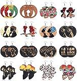 Udalyn 16 Pairs African Map Women Earrings Wooden Painted Earrings Ethnic Style Earring