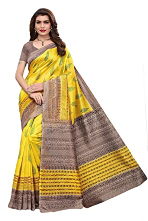 bd610723b2 GLE Mysore Art Silk Saree With Blouse Idea For Women & Girls (GLE-PIPAL  YELLOW_Multicoloured) (MORE THAN 120 DESIGNS & PRINTS): Amazon.in: Clothing  & ...