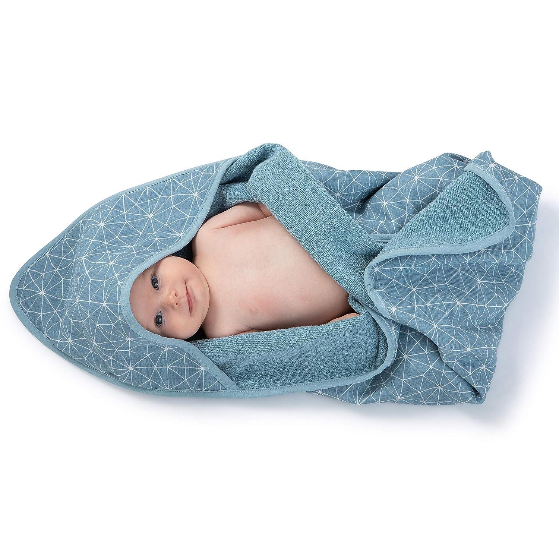 Azul Algod/ón Muselina Urban Kanga Toalla de Ba/ño con Capucha para Beb/é Capa de Ba/ño Infantil Doble faz
