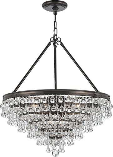 Crystorama 137-VZ Crystal Eight Light Chandelier from Calypso collection in Bronze Darkfinish,