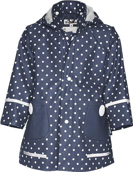Playshoes Kinder Regenjacke mit abnehmbarer Kapuze, niedlicher Regen Mantel für Mädchen, gepunktet mit Punkt Muster