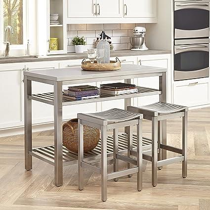 Rolling Kitchen Island Trolley Cart Stainless Steel Flip Tabletop w/Drawer