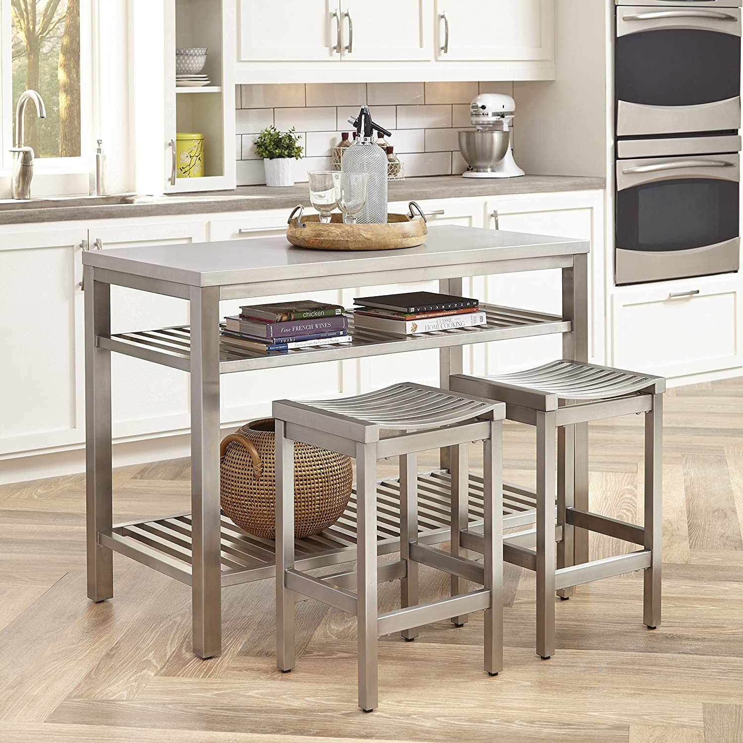 Kitchen Island with Stainless Steel Apron Sink and Stacked ...