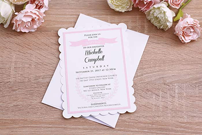 amazon com baptism invitations baby christening invitations baby