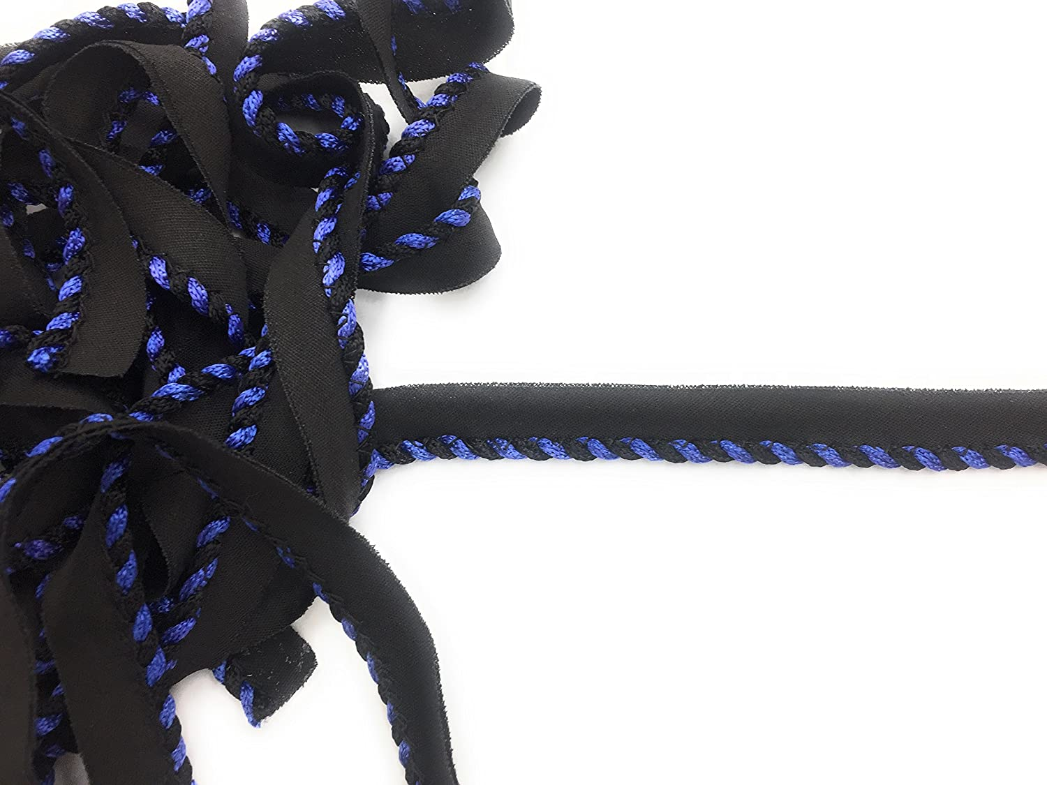 Cord-edge -Piping Trim Blue On Black lip -Lip Cord for Clothing Pillows, Lamps, Draperies 5 Yards Pi-129/108 Trims Unlimited