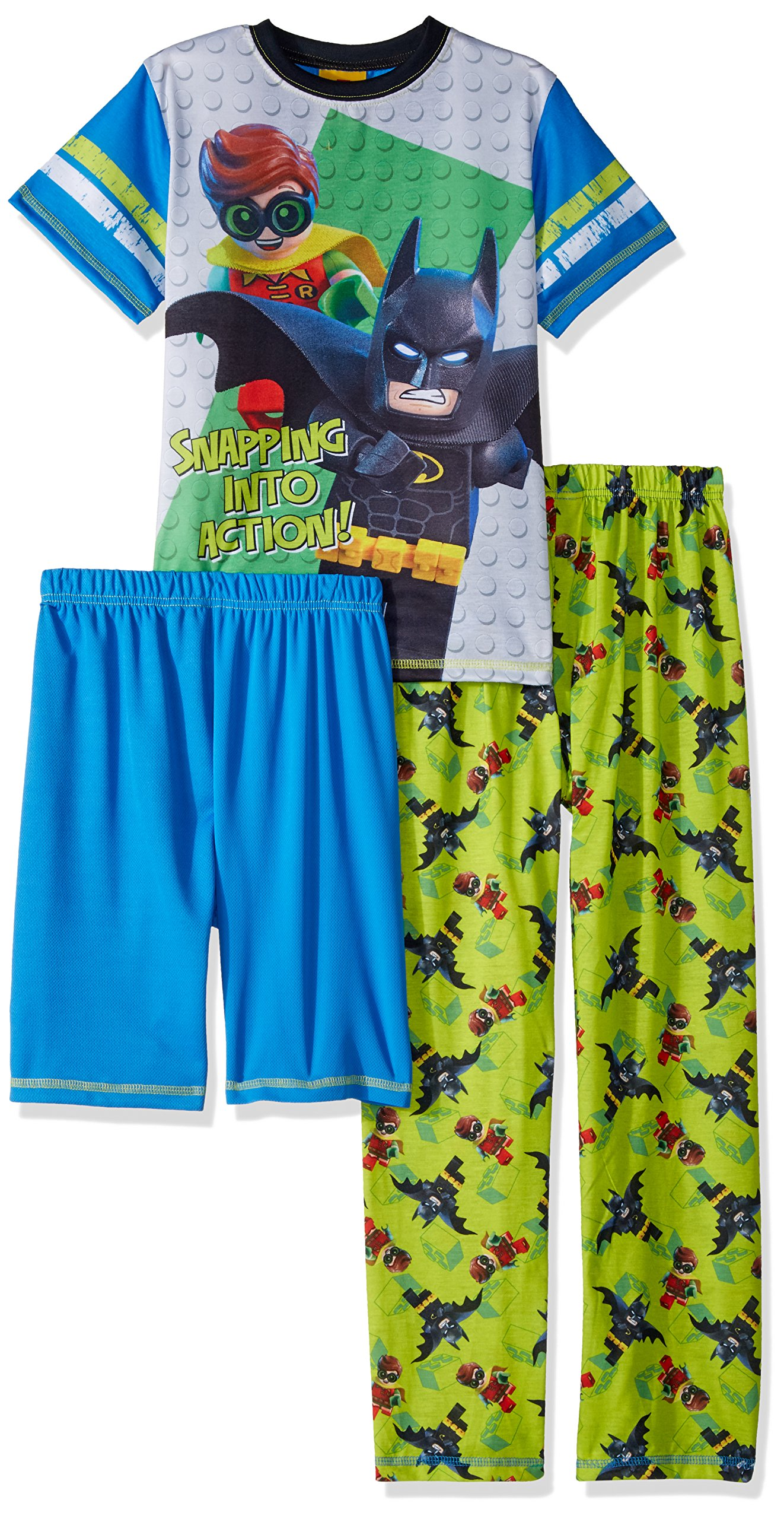 Lego Ninjago Big Boys Batman Movie Action 3 Pc Pajama Set Tee Shorts Pants Blugrn 8