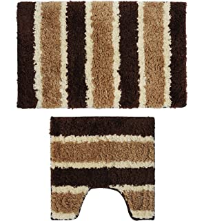 Yu0026K Decor Bathroom 2 Pieces Bath Rug Pedestal Mat Set Contour and bath mat  Brown Stripe