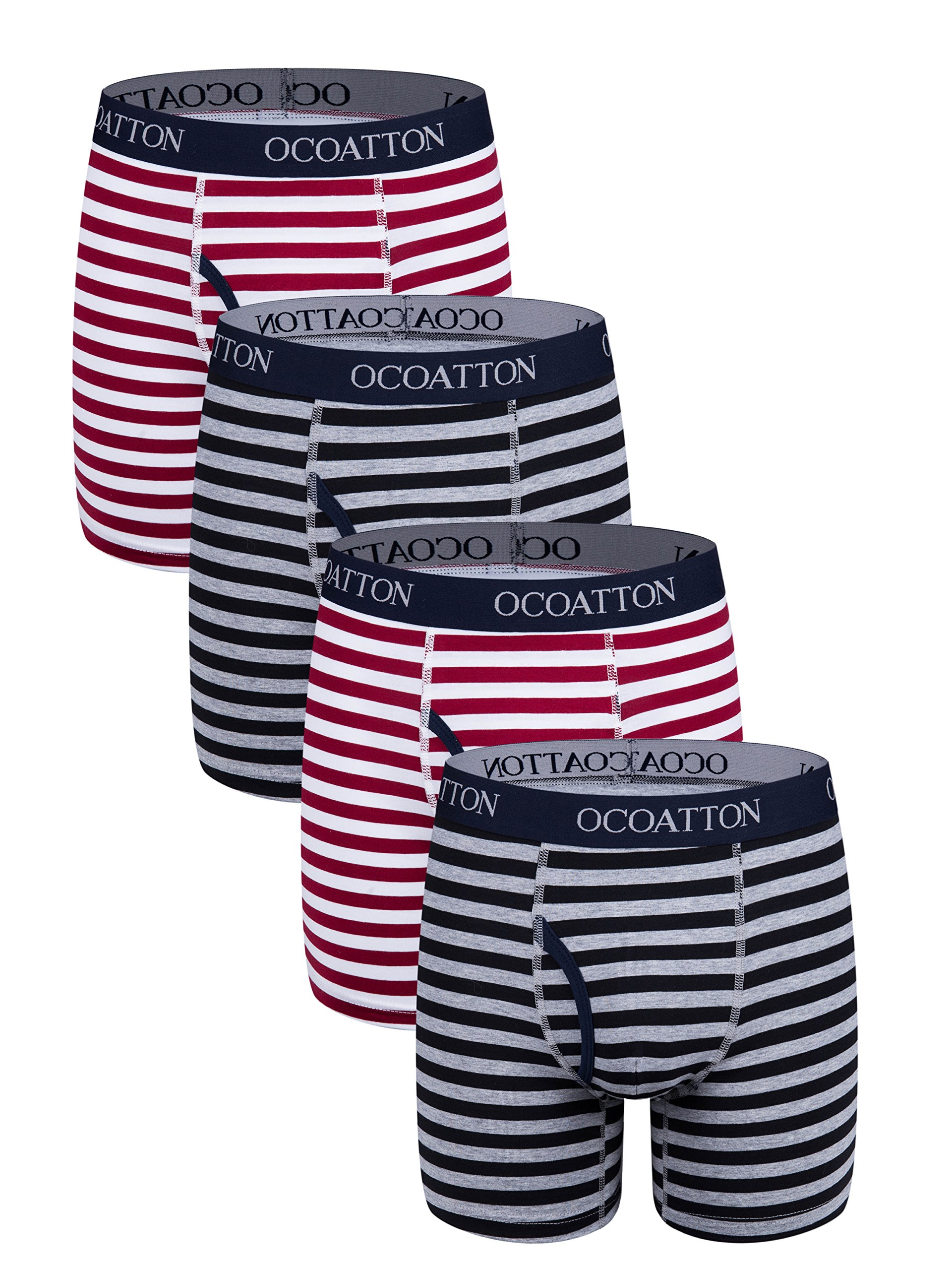 Ocoatton Striped Boxer Briefs Soft Cotton Underwear For Men With Front Fly 4-Pack (M, 2black/2win red)