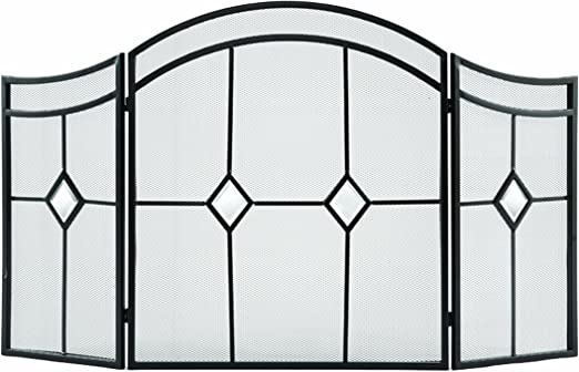 Pleasant Hearth Curved 3-Panel Fireplace Screen Tool Set Combo Vintage Iron