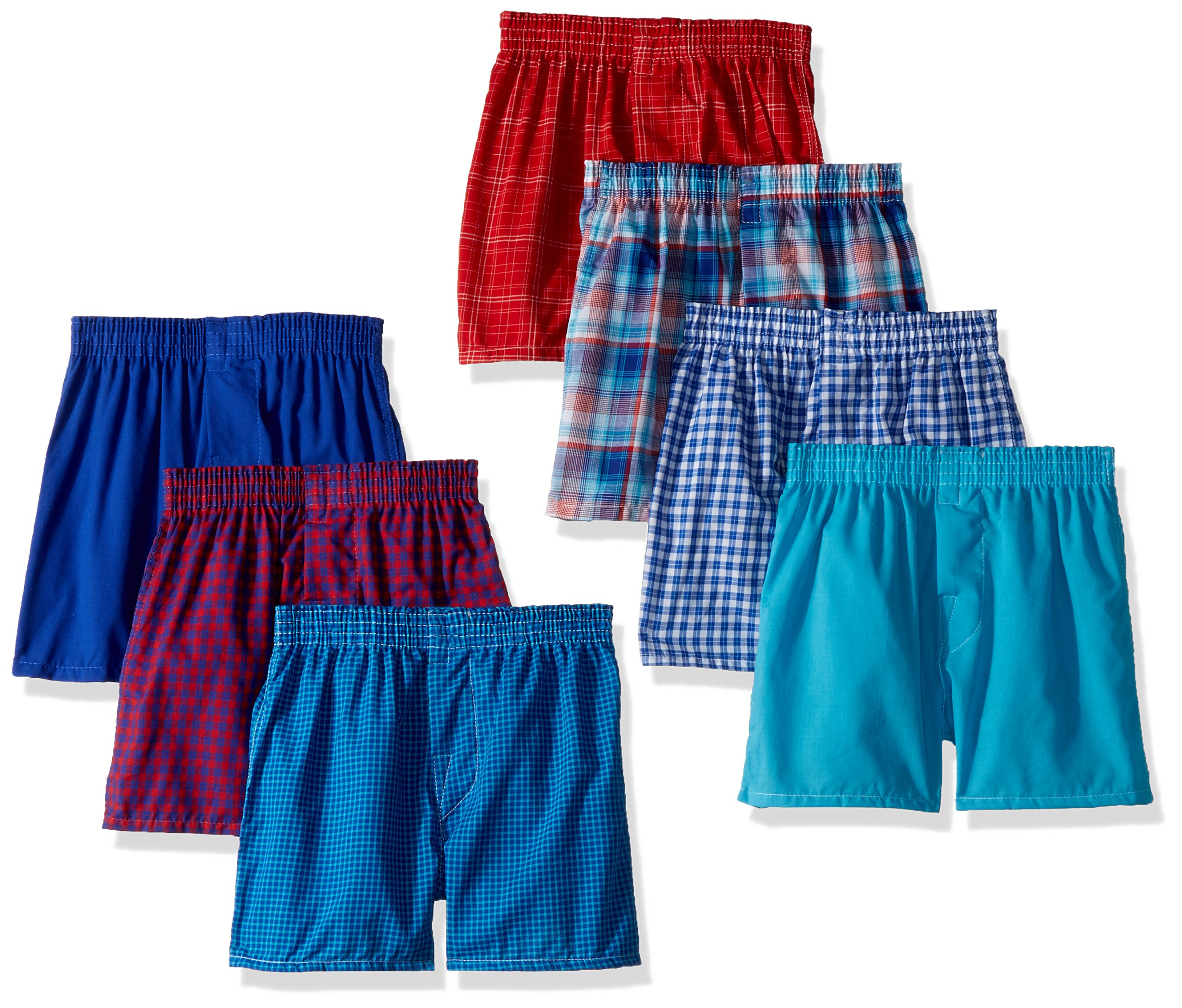 Fruit of the Loom Big Boys' Woven Boxer (Pack of 7), Assorted Plaids, M