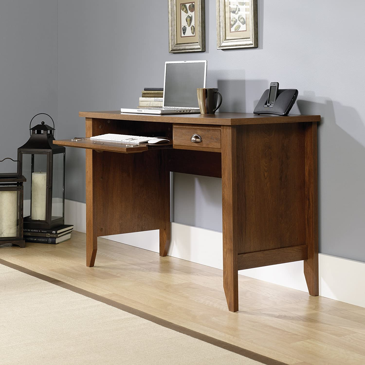 Amazon.com: Sauder Shoal Creek Computer Desk, Oiled Oak Finish: Kitchen U0026  Dining
