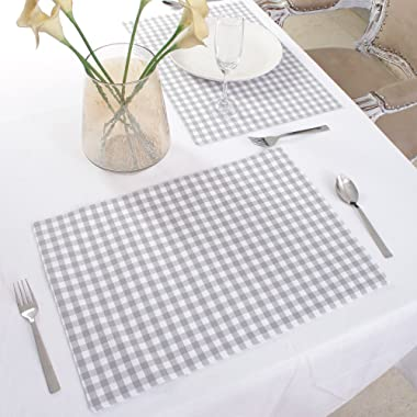 Cotton Placemats, Set Of 4, Double Sided Placemats (13 x 19 Inches), Grey & White Check - Perfect For Spring, Summer, Holidays - Christmas And For Everyday Use