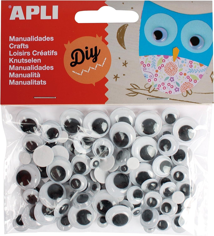 APLI - Bolsa ojos móviles negros redondos adhesivos, 100 uds