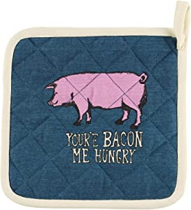 LazyOne Cotton Pot Holders, Cute Cooking Accessories for Home and Kitchen (You're Bacon Me Hungry, ONE Size)