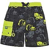 d745e016ad Sun Smarties UPF 50+ Truck Swim Trunk Shorts with Reusable Swim Diaper 12M  Gray