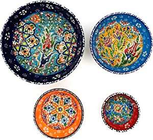 Ayennur Decorative Turkish Ceramic Set of 4 for Salad,Rice,or Pasta Serving with Finger Bow