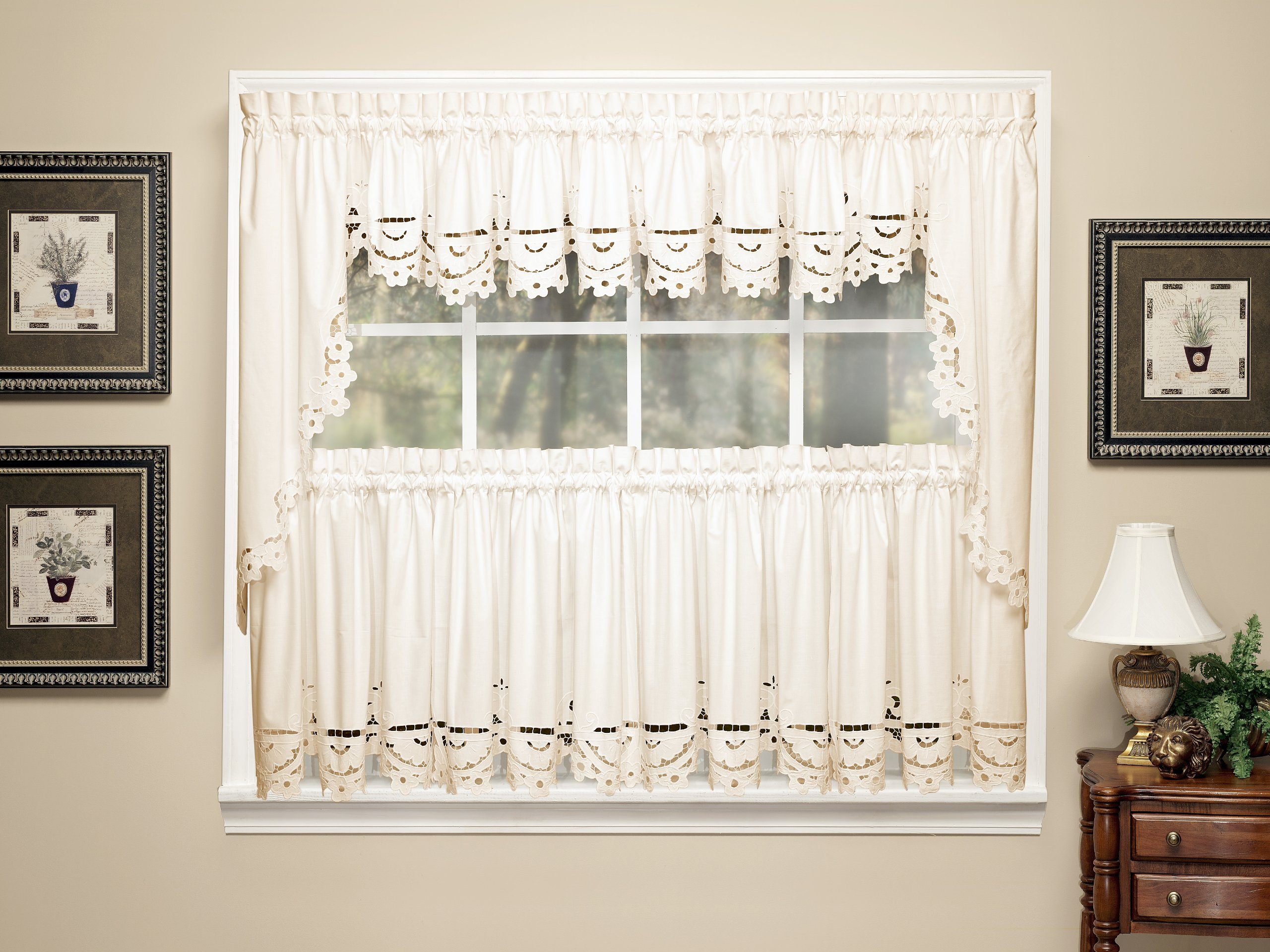 Today's Curtain Imperial Classic Drawn Cutwork Window Tier, 36-Inch, Beige by Today's Curtain