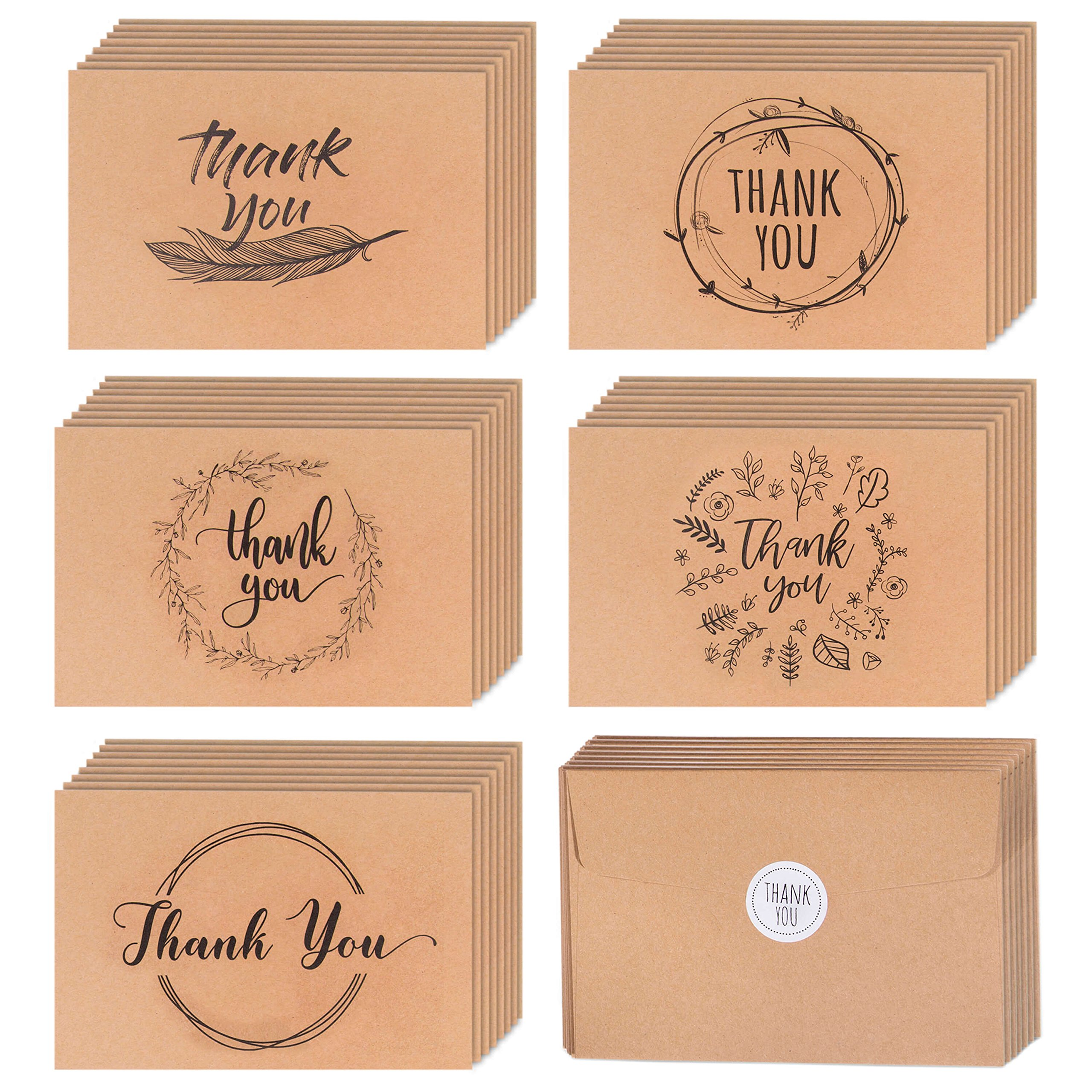 40 Kraft Rustic and Vintage Thank You Cards | Bulk Box Set w/Envelopes & Stickers | Large Brown 4 x 6'' Greeting Cards Blank Inside | Perfect For Wedding, Graduation, Men & Women Sympathy