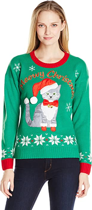 womens plus size meowy cat ugly christmas sweater with bells - Amazon Christmas Sweater