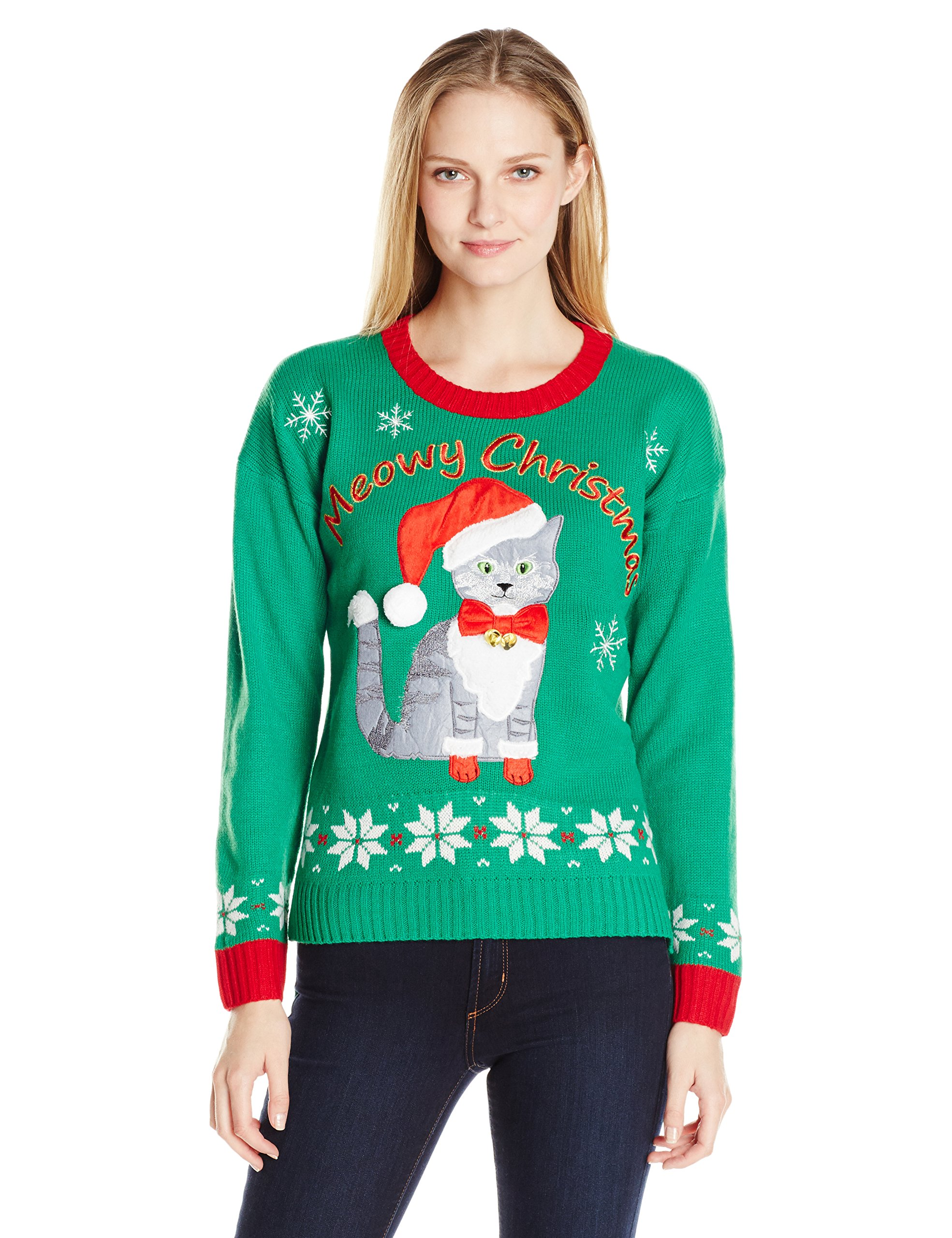 Blizzard Bay Women's Plus Size Meowy Kitty Ugly Christmas Sweater with Bells, Green/Red, L