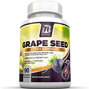 BRI Nutrition Grapeseed Extract - 400mg Maximum Strength 95% Proanthocyanidins Standardized Extract - Immune System Booster & Antioxidant for Heart, Brain, Bone & Skin Health - 90 Veggie Capsules