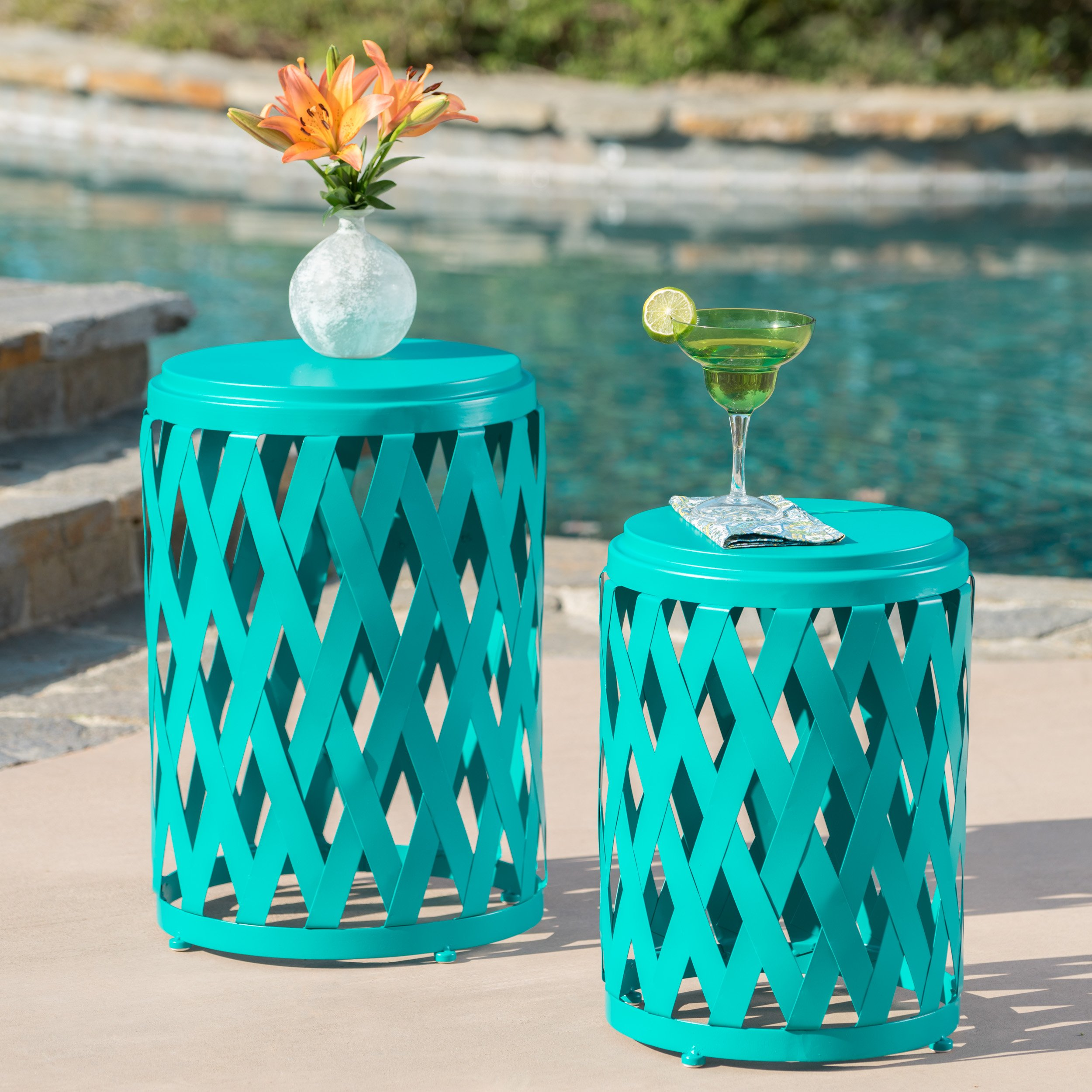 Ellen Nestable Outdoor Small and Large Nested Iron Side Table Set (Set of 2) (Matte Teal)