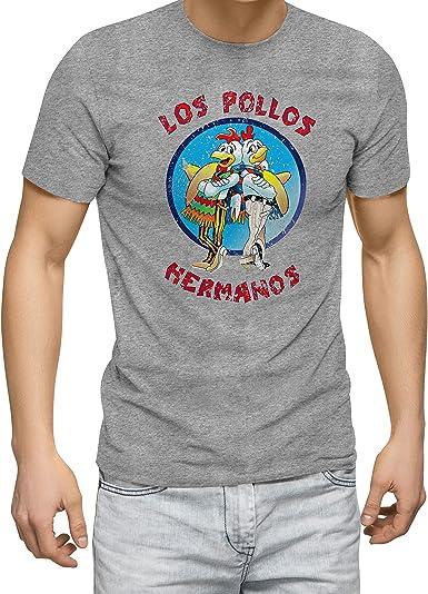Breaking Bad Los Pollos Hermanos Vintage Retro Gris Camiseta para Hombre: Amazon.es: Ropa y accesorios