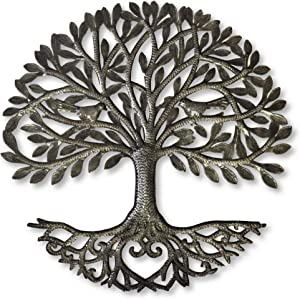 it's cactus - metal art haiti Haitian Family Tree of Life, Decorative Wall Sculpture, Home Decor Wall Hangings, Family Tree, Roots, Flowers, 24 in. Round, Love Tree