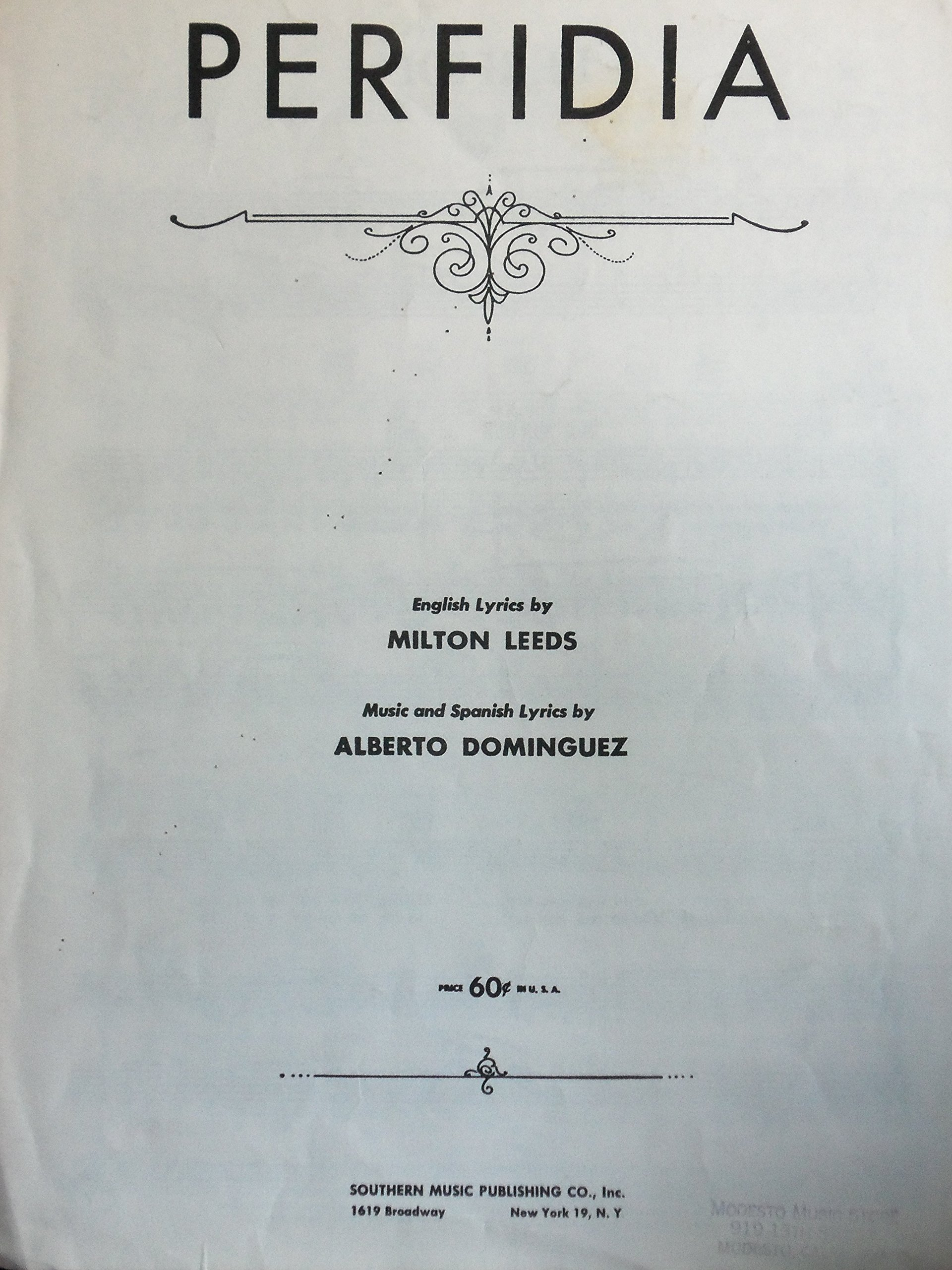 Perfidia Alberto Dominguez English Lyrics By Milton Leeds Amazon