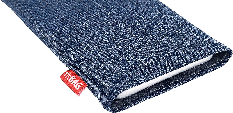H/ülle mit Reinigungsfunktion Made in Germany fitBAG Jive Braun Handytasche Tasche aus Textil-Stoff mit Microfaserinnenfutter f/ür Lenovo Moto Z Play