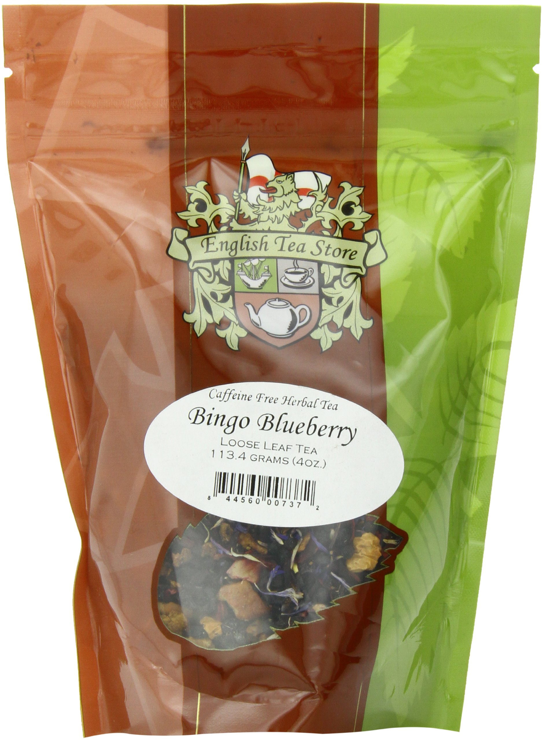 English Tea Store Loose Leaf, Bingo Blueberry Herbal Tea Pouches, 4 Ounce by English Tea Store