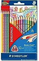 Staedtler 127 NC12P1 Buntstifte Noris Club (erhöhte Bruchfestigkeit, dreikant, ABS-System, kindgerecht nach DIN EN71, PEFC-Holz, Made in Germany, Set mit 12 brillanten Farben + 4 gratis)