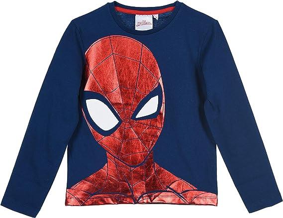 100/% cotone Marvel Spider-Man Maglietta a maniche lunghe per bambini