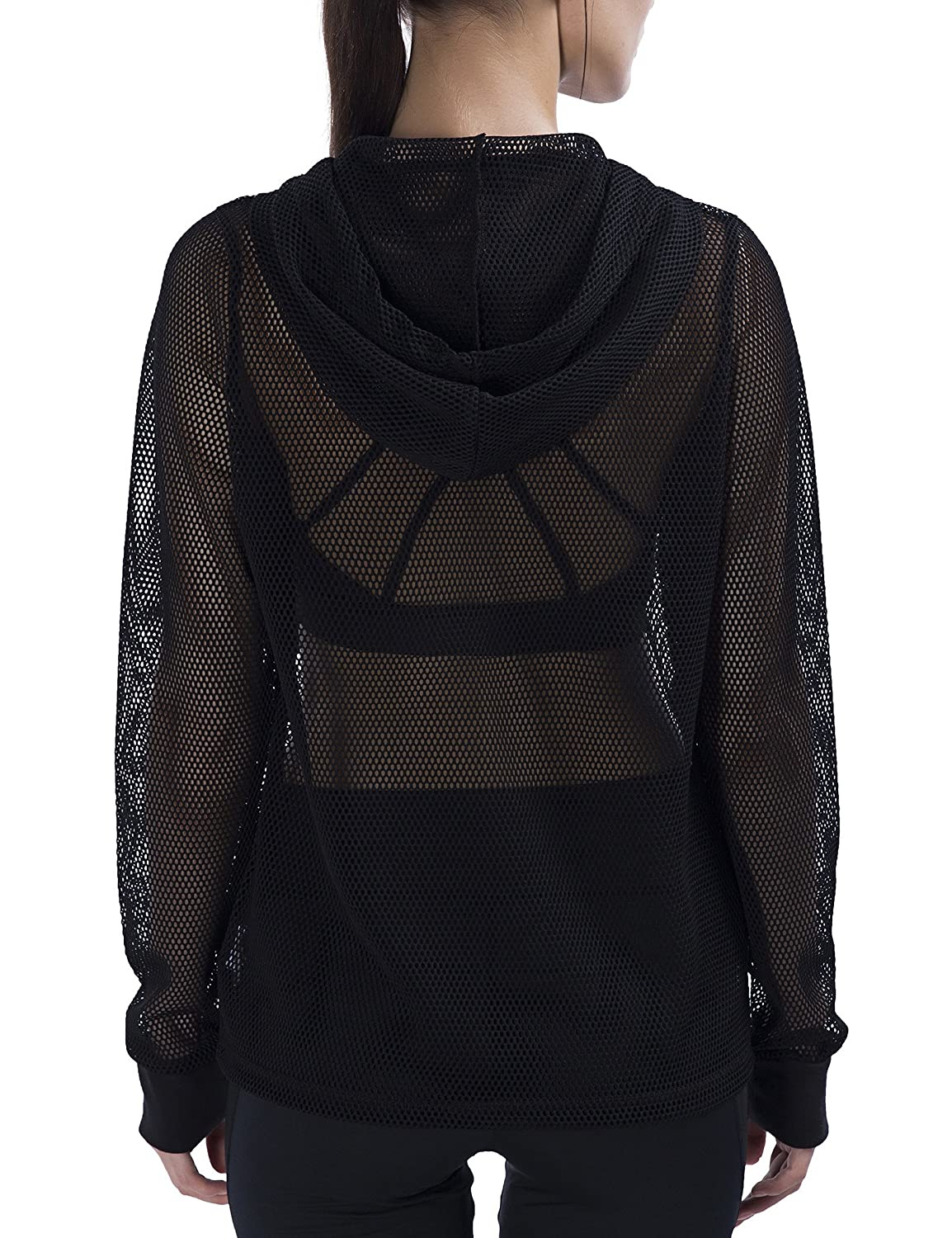 f75f3583a SPECIALMAGIC Women's Relaxed Fit Long Sleeve Zipped Full Mesh Hooded ...