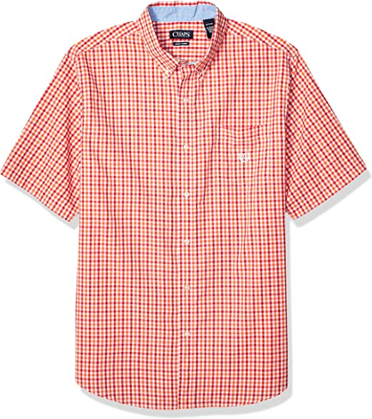 CHAPS Mens Short Sleeve Easy Care Button Down Shirt Button Down Shirt