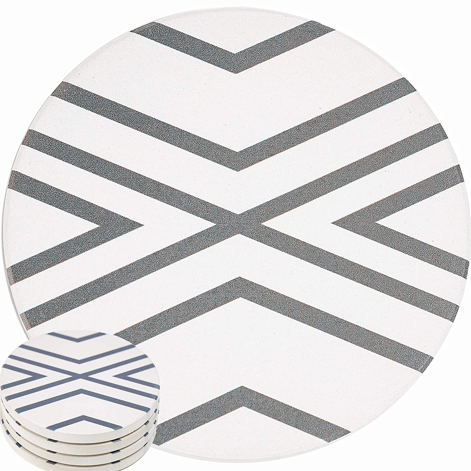 ENKORE Absorbent Coasters For Drinks - LARGE Ceramic Stone With Cork Base, Drink Spills Thirsty Cup Coaster Set of 5 Pack No Holder, OVERSIZE BETTER Protects Furniture - Grey Lines Design
