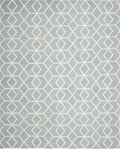 Safavieh Dhurries Collection DHU560A Hand Woven Blue and Ivory Premium Wool Area Rug 9 x 12