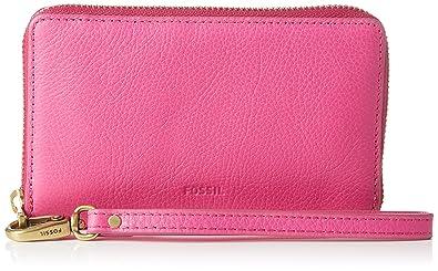 Fossil Emma, Portefeuilles femme, Pink (Hot Pink), 2.54x9.5299999999999994x15.24 cm (B x H T)