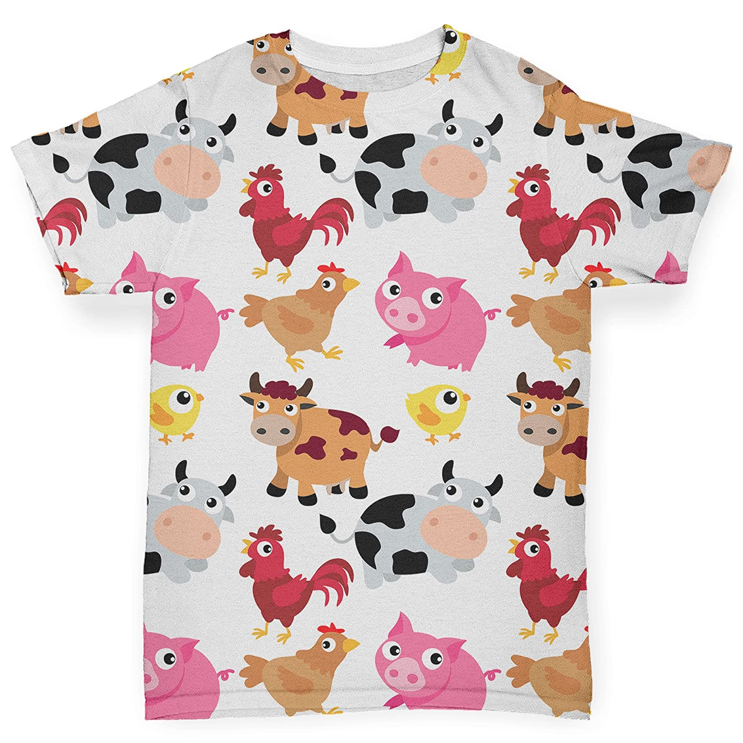 TWISTED ENVY Farm Yard Animal Baby Toddler Funny All-Over Print - Baby T-Shirt