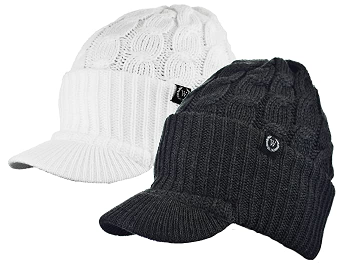 3fe3a2e136e6c9 Amazon.com: Newsboy Cable Knitted Hat with Visor Bill Winter Warm ...